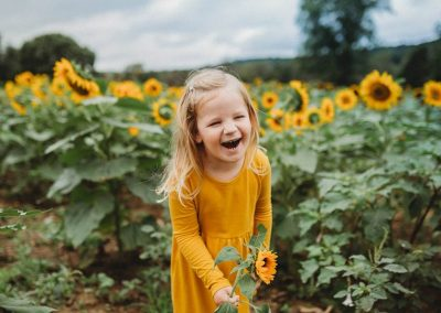 Little Girl Picking sunflowers